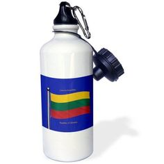 3dRose The flag of Lithuania on a blue background with Republic of Lithuania in English and Lithuanian, Sports Water Bottle, 21oz