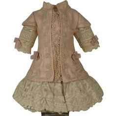 Marvelous Antique Rose Silk Satin Small French Bebe Dress for Jumeau, Bru, Steiner other French Doll. Very fine antique pale rose silk satin jacket