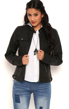 Perforated Faux Leather Jacket with Removable Knit Hood