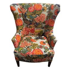 Wing Chair in Chiang Mai Floral Fabric - $5,950 Est. Retail - $3,400 on Chairish.com