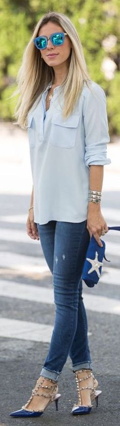 Glam For You Casual Shades Of Blue Fall Inspo