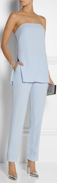 Crepe straight-leg pants and bustier top