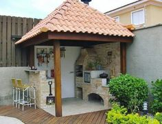 Outdoor Kitchen Patio, Outdoor Kitchen Design, Outdoor Decor, Outdoor Patios, Outdoor Kitchens, Outdoor Rooms, Outdoor Living, Swimming Pool Landscaping, Small Backyard Pools
