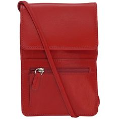 Leather Organizer on a String - Red