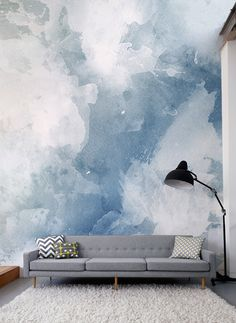 Fall in love with this watercolor wallpaper design. Beautiful swashes of inky blues come together to give you a stylish yet modern look! Its versatile design and balanced colour make it perfect for any room. Watercolor Wallpaper, Designer Wallpaper, Decoration, Shades Of Blue, Grunge, Vibrant, Blues, Pastel, Blue And White