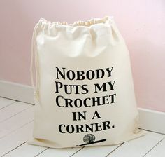 Funny Crochet  Bag   canvas yarn bag by KellyConnorDesigns on Etsy, £13.75