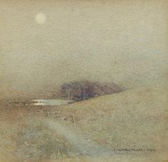 J. W. Tristram - Clair de Lune, 1919, Watercolour on MutualArt.com