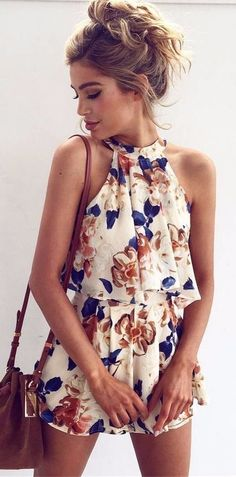 #summer #outfits / floral print romper