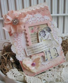 shabby chic little girls BIRTHDAY handmade card