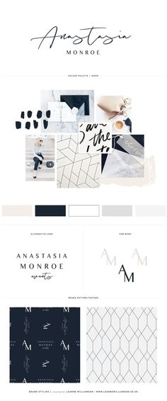 Brand Design by Leanne Williamson for Anastasia Monroe Events: Logo Design, Logo Mark, Alternative Logo, Mood Board and Patterns in Nude, Black & Grey - www.leannewilliamson.co.uk | info@leannewilliamson.co.uk