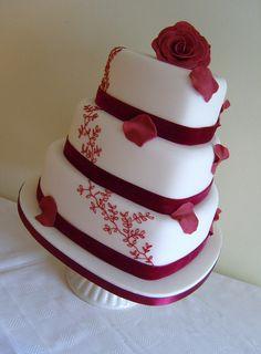 tier burgundy heart wedding cake