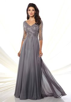 Grey diamond chiffon a-line dress | Mon Cheri 116950 | http://trib.al/OM4yIfl