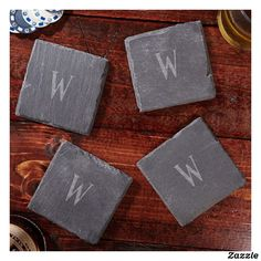 Set of 4 Franklin Engraved Slate Coasters