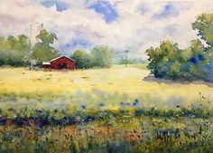 Red Barn with Silo by Judy Mudd Watercolor ~ 9 x 12