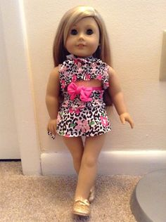 """Cute and easy handmade 18""""inch doll or American girl doll summer bathing suit outfit from an old bathing suit Isabelle's happy and ready for the beach"""