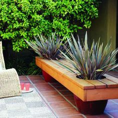 This DIY PLANTER BENCH could easily house plantings for the summer, spring, fall, or winter.  Mini Christmas trees in November-January, a variety of spring bulbs from March-May, etc. Neat DIY idea that is functional and attractive year-long.