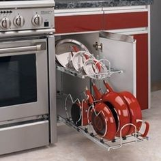 This Two-Tier Kitchen Cabinet Cookware Organizer by Rev-A-Shelf is a great way to organize your cookware. With a lid rack and dividers for your pots and pans you are sure to rock kitchen organization. Contemporary Cabinets, Modern Cabinets, Base Cabinets, Kitchen Cabinets, Kitchen Appliances, Pan Storage, Kitchen Storage, Cabinet Storage, Cabinet Space