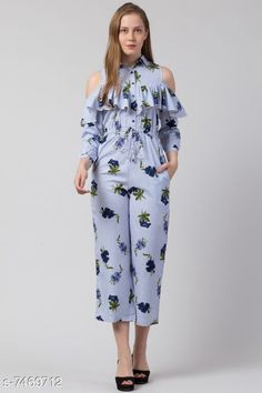 Checkout this latest Jumpsuits Product Name: *Trendy jumpsuit for women* Fabric: Poly Crepe Sleeve Length: Three-Quarter Sleeves Pattern: Printed Multipack: 1 Sizes:  XS (Bust Size: 34 in, Length Size: 40 in, Waist Size: 26 in)  S (Bust Size: 36 in, Length Size: 40 in, Waist Size: 28 in)  M (Bust Size: 38 in, Length Size: 40 in, Waist Size: 30 in)  L (Bust Size: 40 in, Length Size: 40 in, Waist Size: 32 in)  Easy Returns Available In Case Of Any Issue   Catalog Rating: ★4 (417)  Catalog Name: Fancy Fabulous Women Jumpsuits CatalogID_1202092 C79-SC1030 Code: 076-7469712-6081