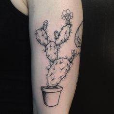 Cactus plant by Evan Davis at Banshee Tattoo in Nashville, TN // @evandavistattoo on instagram