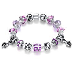 Purple Love Charm Bracelet: Don't you just love this gorgeous Purple Love charm bracelet?  The Purple Love bracelet is beautifully decorated with glass beads throughout the entire bracelet as well as exquisite antique silver plated alloy fitting!  Get this if you want to add a unique item to your current jewelry collection.  It's also great gift idea for a friend too!  Please Note: Please select chain length of 18cm or 20cm otherwise 20cm will be sent.