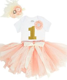 f221a4322eb9 ... Baby Girls First Birthday Pink and White Lace Tutu Outfit with  Rhinestone Flower Boutique Headband and Removable Pink Number One 6-12  Months  Clothing