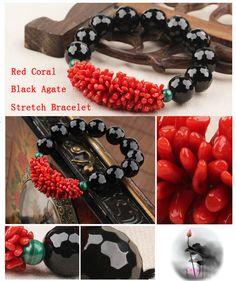 Black agate and coral stretch bracelet