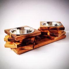 Nature wood, elevated dog bowl stand!