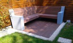 Modern WPC bench in our garden