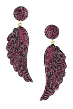 Pave Ruby Wing Drop Earrings by United Gemco Inc. on @HauteLook