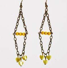 Yellow Dangle Earrings Sunny Heart Bronze Chain Handmade by NevadaLadyJ on Etsy