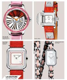 """Horlogerie montres : """"la couture est à l'heure"""" - Dior, Dior VIII Grand Bal Pièce Unique Envol No 2 - Hermès, Médor - Louis Vuitton, Emprise Épi Coquelicot - Chanel, Première Rock Rose Pastel"""