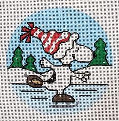 Yoshi, Needlepoint, Skate, Needlework, Snoopy, Stitch, Canvas, Fictional Characters, Art