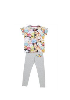 <li><p>She'll love these fun colourful pyjamas from Disney. The short sleeve pyjama top features an image of the Tsum Tsum range of soft toys on the front, and the full length accompanying leggings have the Disney Tsum Tsum logo. <span>Disney Tsum Tsum is a line of collectible toys based on popular Disney characters.</span></p><p><span>Short sleeve top pulls on</span></p><p><span>Full length leggings pull up with an elasticated waistband</span></p></li>