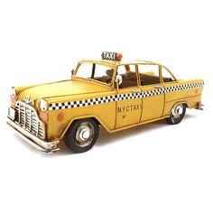 Miniatura de Taxi Amarelo - Em Metal - 26x10 cm | Carro de Mola - Decorar faz bem.