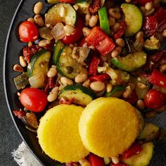 This veggie-packed Ratatouille with White Beans & Polenta is what #MeatlessMonday dreams are made of!  #DinnerTonight