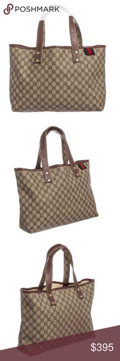 0a5fa1e4eef7 Gucci Brown Beige GG Supreme Web Tote Handbag Crafted out of brown beige GG  supreme canvas