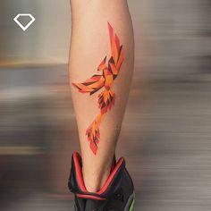 graphic phoenix tattoo by diamondtattooshops