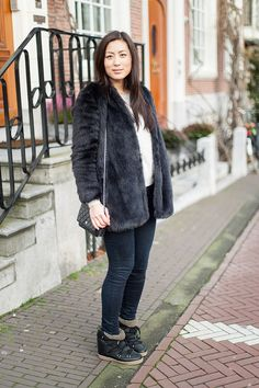 Zara faux fur coat & jeans / Isabel Marant pour H&M sweatshirt / Isabel Marant Nowles boots / Chanel bag - http://logomania.nl/index.php/2014/01/04/today-2/
