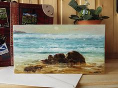 Handmade greeting card Hand-painted card Nautical greeting card Seascape art Sea card Art card on canvas texture paper (25.00 USD) by AnnaplusK