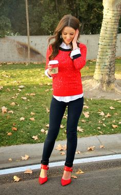 Red cardigan, black skinny jeans, red heals , white top