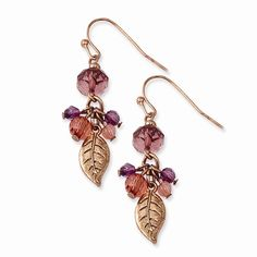 Rose-tone Pink & Purple Acrylic Beads Dangle Earrings Attributes Shepherd hook;Rose-tone;Acrylic Product Type:Jewelry Jewelry Type:Earrings Earring Type:Drop & Dangle Material: Primary - Color:Rose Ma