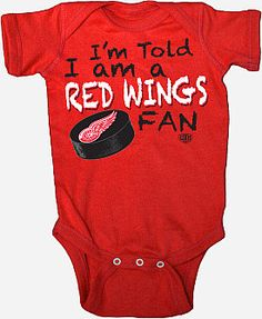 Red Wings Onsie. Going to have to get this for Jonathan.