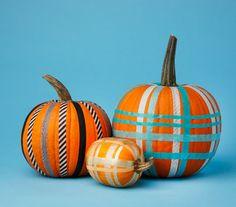 Decorative Scotch tape for a really easy plaid pumpkin.