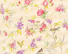 """Création Satintapete """"Chateau Blumen bunt metallic x m Creations, Curtains, Quilts, Shower, Blanket, Metal, As, Home Decor, Wallpapers"""