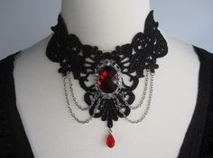 Lace Choker Necklace Black & Red Victorian Gothic Burlesque