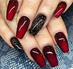 If you love red and black nail designs or looking for a special Halloween nail art look, get inspired by these fabulous red and black nail art designs! Red Black Nails, Black Nail Art, Snow White Nails, Red Chrome Nails, Blue Nail, Beautiful Nail Art, Gorgeous Nails, Pretty Nails, Black Nail Designs