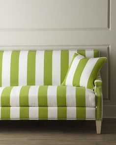 """Shop """"Appletini"""" Striped Sofa from Massoud at Horchow, where you'll find new lower shipping on hundreds of home furnishings and gifts. Selling Furniture, Find Furniture, Sofa Furniture, Green Furniture, Striped Sofa, Green Interior Design, Spring Home Decor, Green Rooms, Green Stripes"""