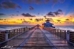 Sunrise from the Juno Beach Pier along the boardwalk in Palm Beach County, Florida. HDR image created using Photomatix and Aurora HDR Software. Juno Beach Florida, Juno Beach Pier, Palm Beach County, Beautiful Places To Visit, Sunrise, Around The Worlds, Oceans, Hdr, Photography