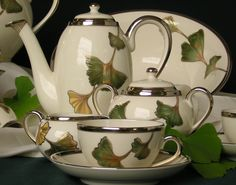 My personal favourite --Zsolnay porcelain tea set with ginko leaf motif