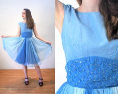 Party Dress XS, Blue Ombre Chiffon Rhinestones Fit and Flare New Look Vintage Prom, Extra Vintage Party Dresses, Vintage Prom, Look Vintage, Vintage Outfits, Vintage Fashion, Sheer Chiffon, Chiffon Skirt, Day Dresses, Prom Dresses